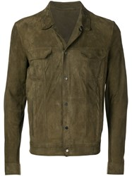 Salvatore Santoro Snap Button Leather Jacket Green