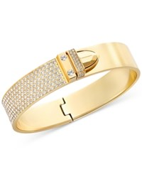 Swarovski Gold Tone Pvd Crystal Pave Buckle Bangle Bracelet