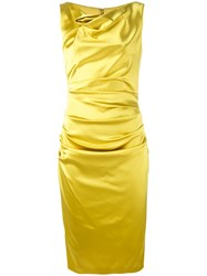 Talbot Runhof Draped Cowl Neck Dress Women Polyamide Polyester Spandex Elastane Viscose 40 Yellow Orange
