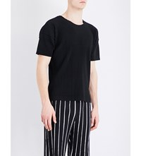Homme Plisse Issey Miyake Pleated Woven T Shirt Black