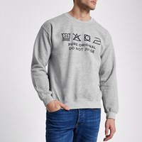 River Island Grey Marl Ditch The Label Charity Sweatshirt