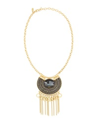 Greenbeads By Emily And Ashley Mini Bib Fringe Necklace Black
