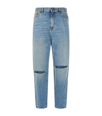 Saint Laurent Straight High Rise Ripped Knee Jeans Blue