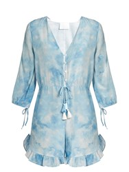 Athena Procopiou In The Stars Silk Playsuit Blue Print