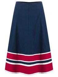 East Striped Hem A Line Skirt Navy Bright Red
