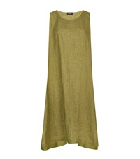 Eskandar Sleeveless Linen Dress Green