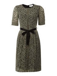 Noa Noa Lace Dress With Short Sleeve And Belt Grey