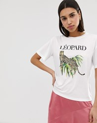 Neon Rose Relaxed T Shirt With Leopard Graphic White