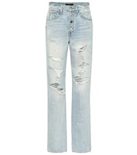 Amiri Slouch Destroyed High Rise Jeans Blue