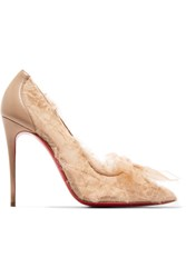 Christian Louboutin Toufrou 100 Bow Embellished Frayed Chiffon Pumps Neutral
