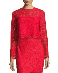 Diane Von Furstenberg Yeva Long Sleeve Lace Top Poppy Medium Red