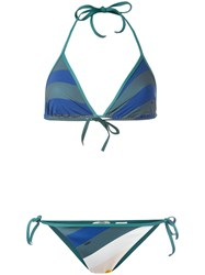 Fendi Wave Print Bikini Set Green