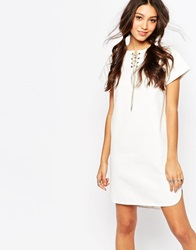 Daisy Street Denim Tunic Dress With Tie Neck Cream