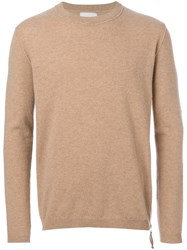 Laneus Zip Detail Jumper Men Virgin Wool 52 Nude Neutrals