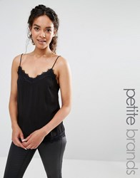 New Look Petite Lace Neck And Hem Cami Top Black