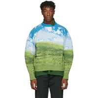 Sunnei Blue And Green Felted Woven Oversized Sweater