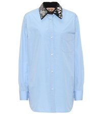 N 21 Embellished Collar Cotton Shirt Blue