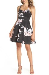 Sequin Hearts Floral Print Fit And Flare Dress Black Mauve