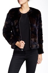 Dawn Levy Genuine Rabbit Fur Rex Bomber Jacket Brown