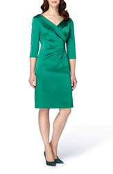 Tahari Women's Portrait Collar Satin Sheath Dress Emerald