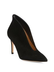 Gianvito Rossi Suede Point Toe U Mid Heel Booties Black