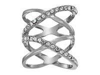 Guess Double Crisscross Pave Ring Silver Crystal Ring
