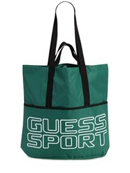 Guess Logo Printed Nylon Tote Bag Green