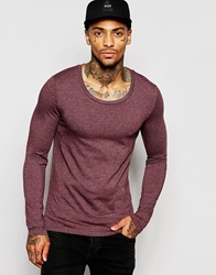 Asos Muscle Long Sleeve T Shirt With Scoop Neck In Red Oxbloodmarl
