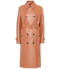 Tod's Leather Trench Coat Red