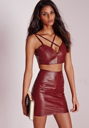Missguided Faux Leather Cross Strap Plunge Bralet Burgundy Burgundy