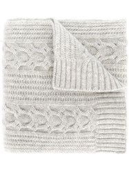 N.Peal Wide Cable Knit Scarf Cashmere Grey