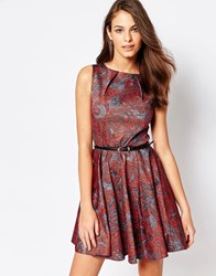 Closet London Rose Belted Skater Dress In Paisley Print Grey Red