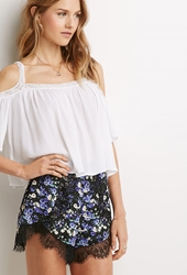 Forever 21 Lace Trimmed Floral Shorts Green Purple