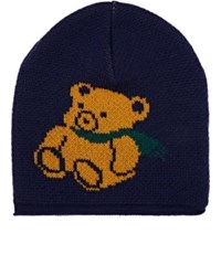 Gucci Men's Teddy Bear Stockinette Stitched Wool Beanie Navy Green Yellow Blue Navy Green Yellow Blue