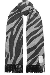 Rag And Bone Fringed Zebra Print Wool Blend Scarf Zebra Print