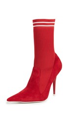 Jeffrey Campbell Starter Sock Booties Red White