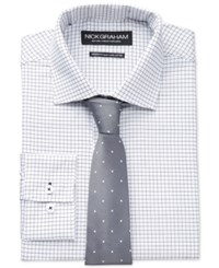 Nick Graham Fitted Black Check Dress Shirt And Grey Small Dot Slim Tie