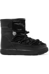 Moncler New Fanny Shearling Lined Calf Hair And Leather Snow Boots Black