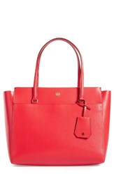 Tory Burch Parker Leather Tote Red Cherry Apple Royal Navy