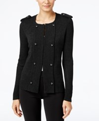 Cable And Gauge Military Sweater Jacket Black