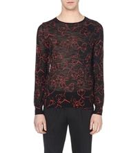 Dries Van Noten Floral Print Semi Sheer Knitted Jumper Black