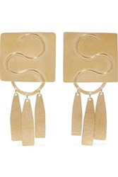Annie Costello Brown Clea Gold Tone Earrings One Size