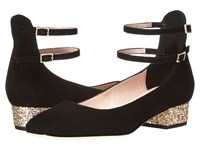 Kate Spade Marcelina Black Kid Suede Gold Glitter
