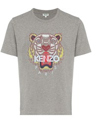 Kenzo Embroidered Tiger T Shirt Grey