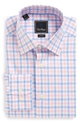 David Donahue Men's Big And Tall Trim Fit Plaid Dress Shirt Sky Pink