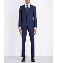 Corneliani Micro Square Patterned Slim Fit Wool Suit Navy