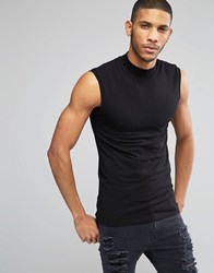 Asos Extreme Muscle Sleeveless T Shirt With Turtleneck In Black Black