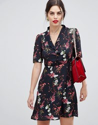 Zibi London Cap Sleeve Printed Shirt Dress Black With Red Print Multi