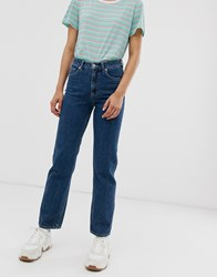 Monki Imko Straight Leg Jeans With Organic Cotton In Mid Blue
