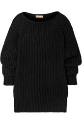 Michael Kors Collection Ruched Ribbed Cashmere Sweater Black